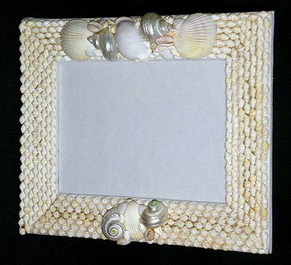 white seashell table top photo picture frame 8 x 10 with front glass panel ebay. Black Bedroom Furniture Sets. Home Design Ideas