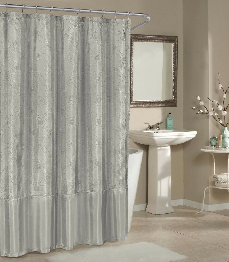 Silver Faux Silk Fabric Shower Curtain Metallic Raised