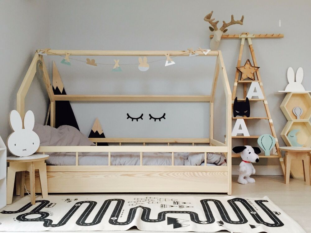 hausbett kinderhaus farbe sicherheitbarieren house bed kinder bett ebay. Black Bedroom Furniture Sets. Home Design Ideas