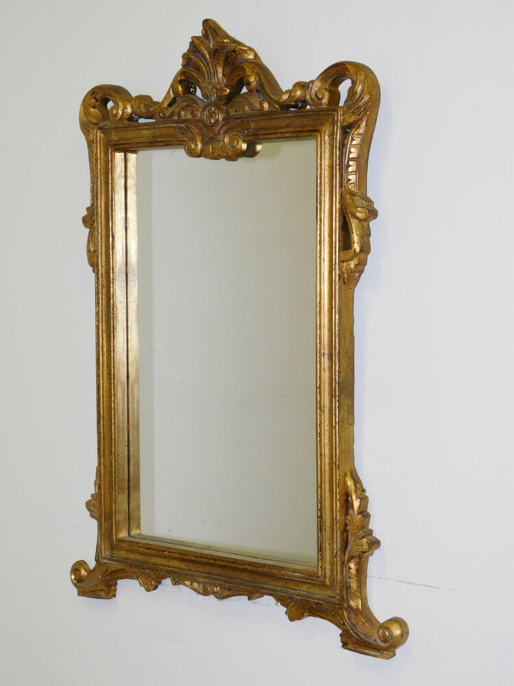 Vintage 1950s Italian Carved Wood Rococo Gold Gilt Mirror