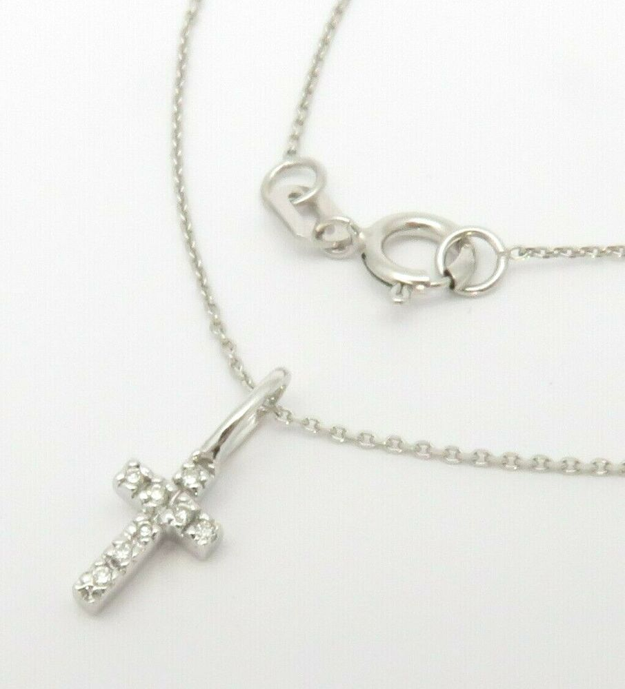 14k yellow gold dainty diamond cross pendant necklace 16. Black Bedroom Furniture Sets. Home Design Ideas