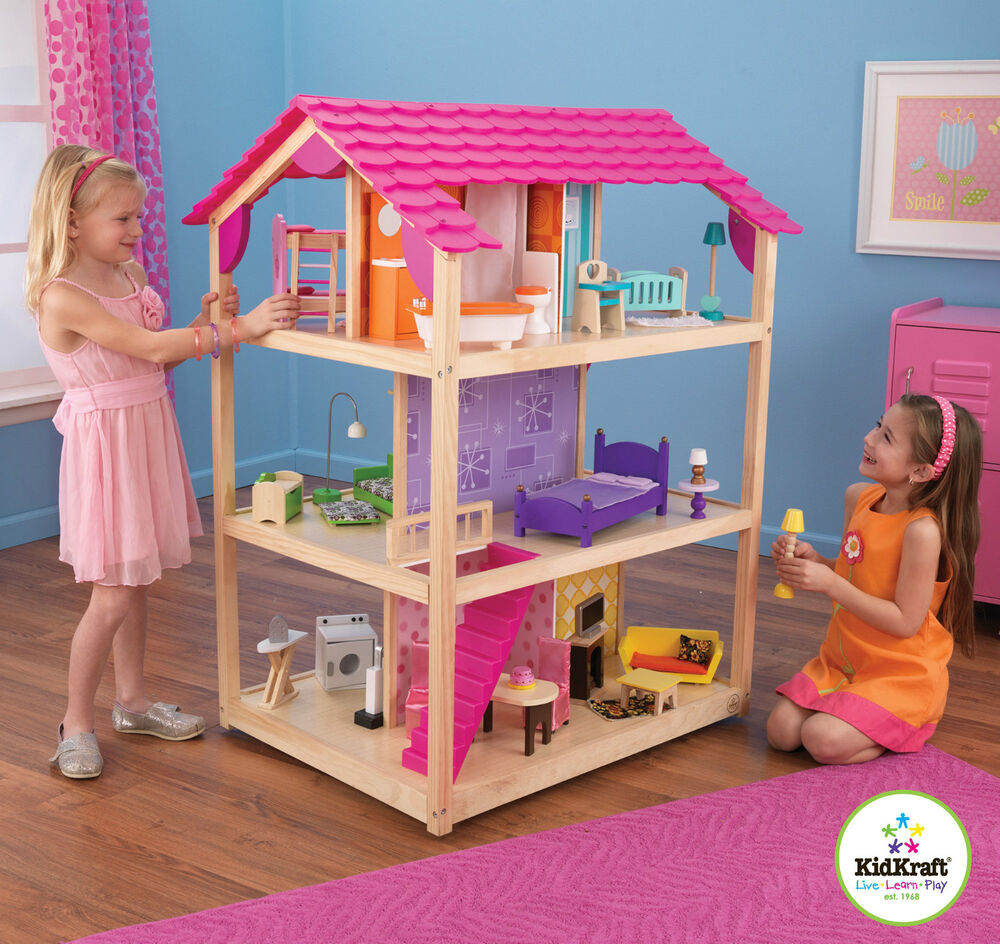 Kidkraft So Chic Dollhouse, Wooden Dollhouse For Barbie