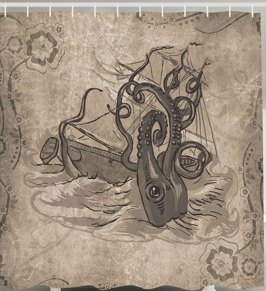 Antiqued Ship Giant Squid Shipwreck Sea Creature Kraken Nautical Shower Curtain Ebay