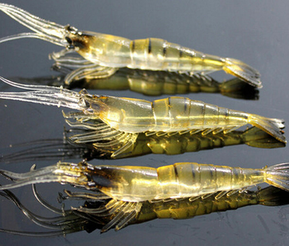 10pcs set lure bait shrimp fishing simulation prawn for Best bait for saltwater fishing