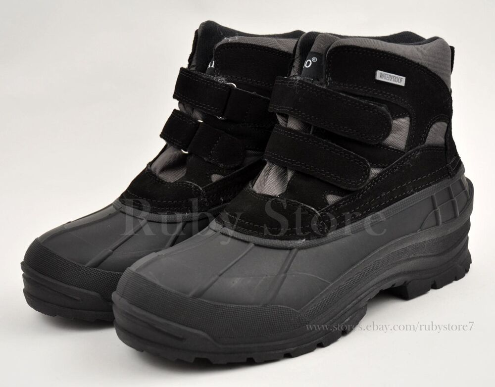 LABO Menu0026#39;s Black Leather Winter Snow Work Boots Shoes Waterproof Insulated 105 A | EBay