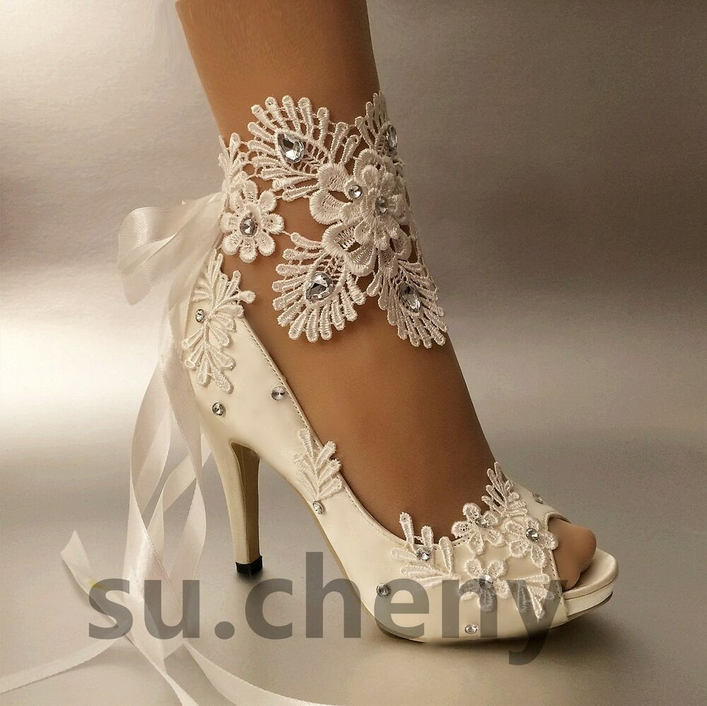 "Su.cheny 3"" 4"" Heel White Ivory Satin Lace Ribbon Open Toe"