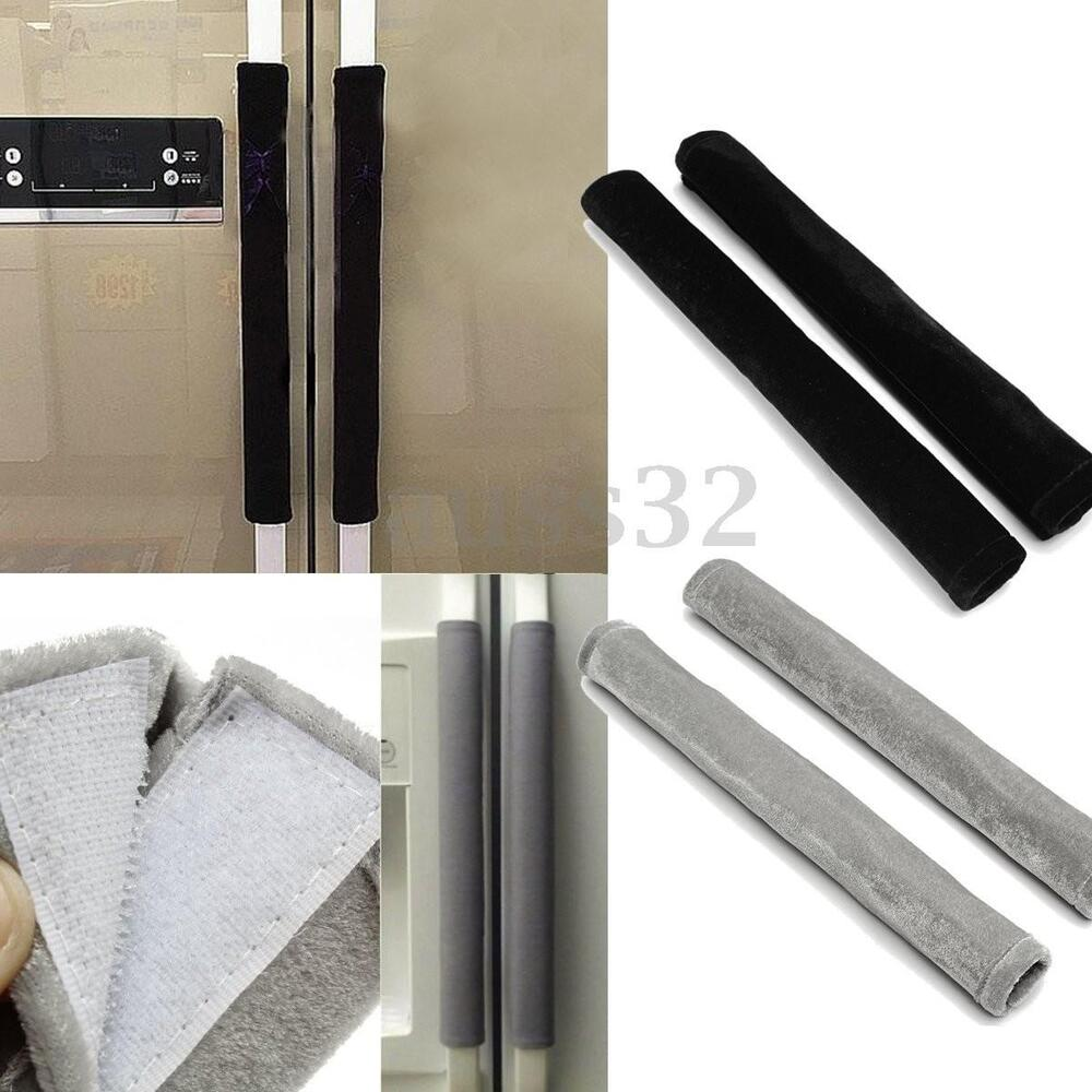 Set Of 2 Black Grey Fabric Refrigerator Oven Door Handle