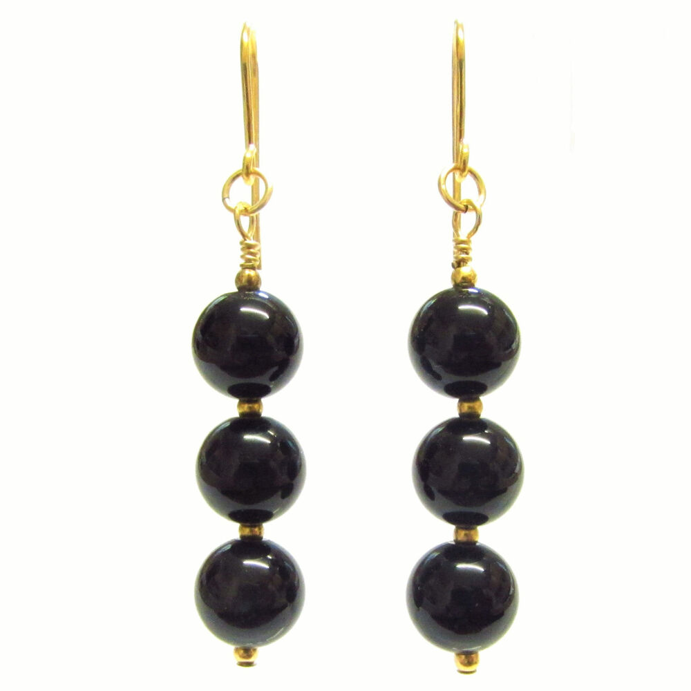 Details About Black Onyx Earrings 9ct Gold Beads Hooks Drops Semi Precious Gemstone