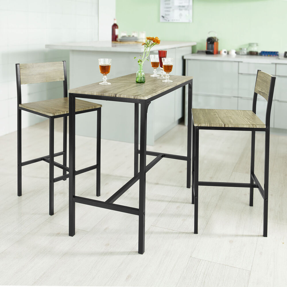 sobuy bar table and 2 stools restaurant kitchen furniture dining set ogt03 uk ebay. Black Bedroom Furniture Sets. Home Design Ideas