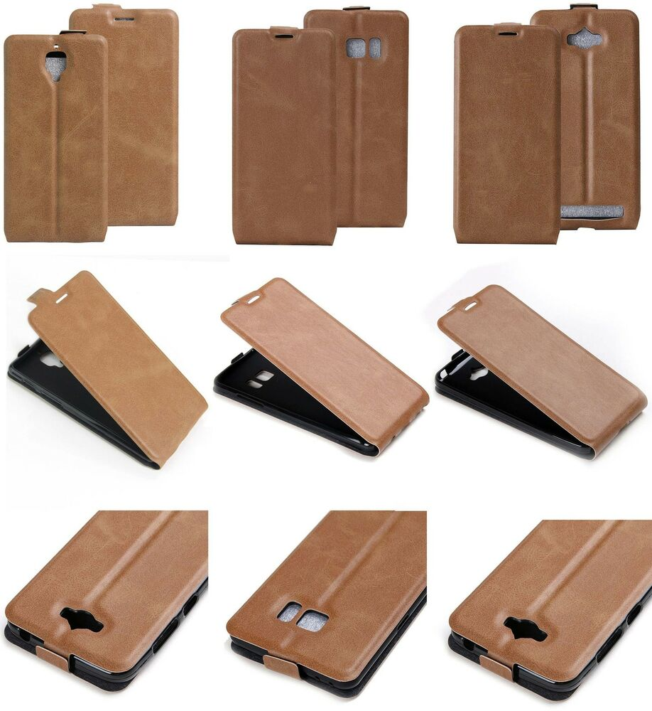 Brown Luxury Vertical Flip PU Leather Card Photo Slot Case Excellent ...