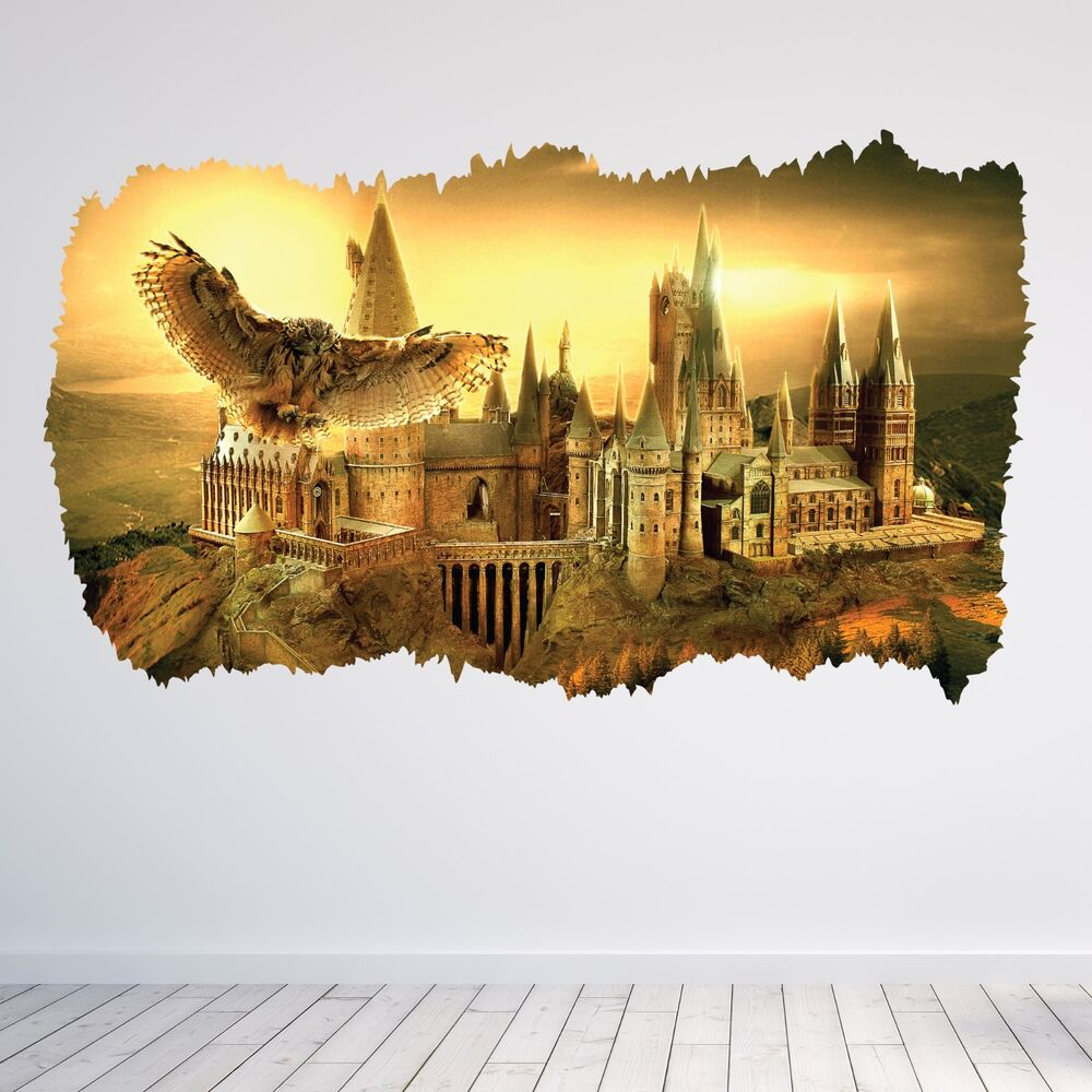 Hogwarts harry potter bedroom 3d hole wall sticker decal for Decoration murale harry potter