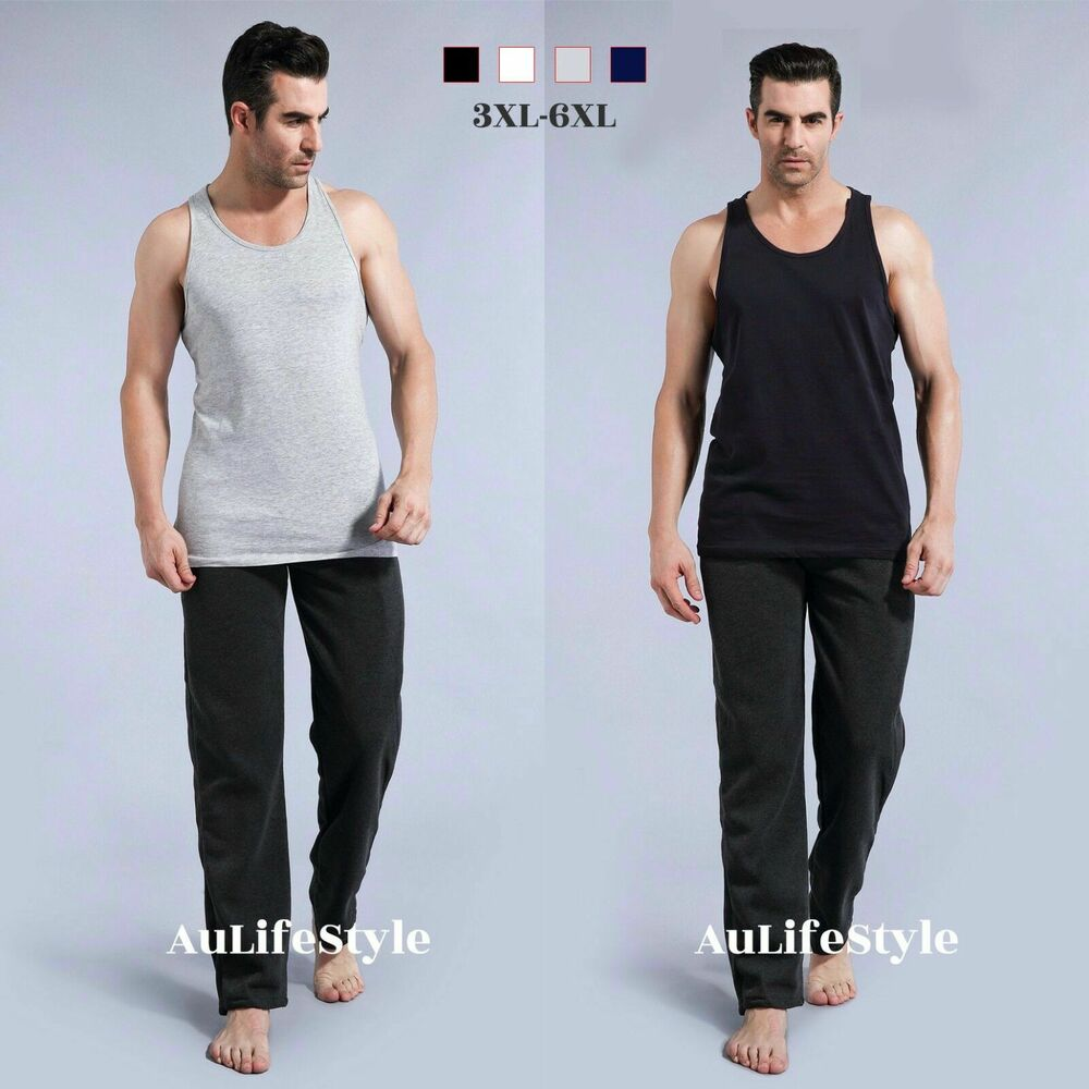 Mens singlets casual top tank 100 cotton big clothing for Best dress shirts for big guys