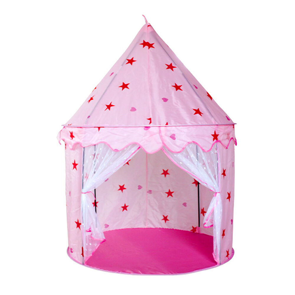 girls pink princess castle children kids play tent toy in outdoor play house fun ebay. Black Bedroom Furniture Sets. Home Design Ideas