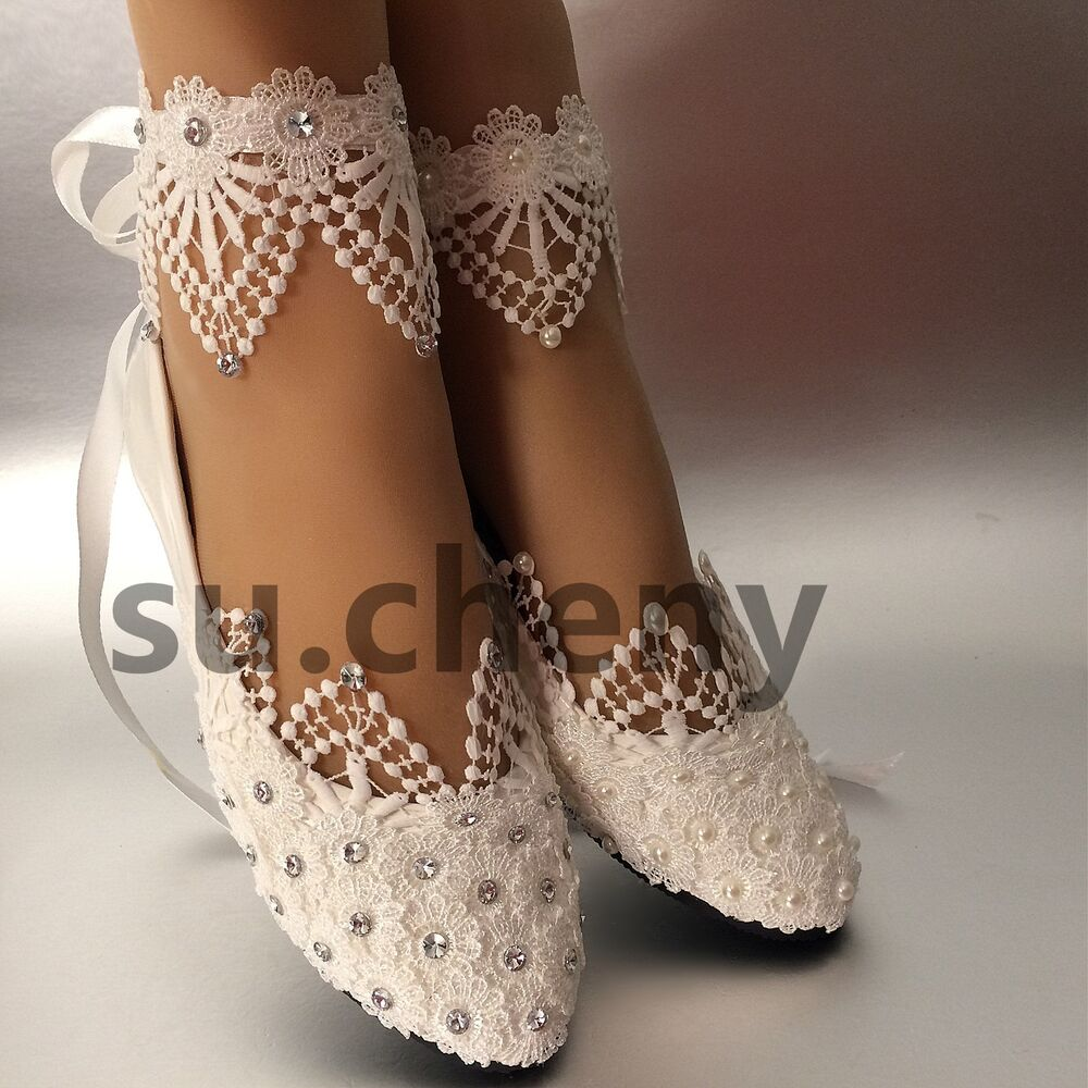 White Light Ivory Lace Pearls Crstal Flat Ballet Wedding