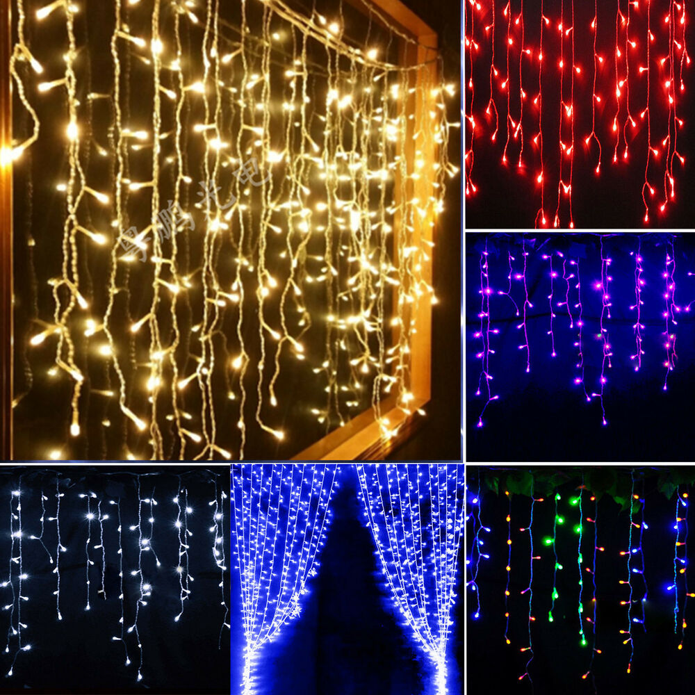 Icicle Hanging Snowing Curtain Lights Window Fairy Xmas LED String Wedding New eBay