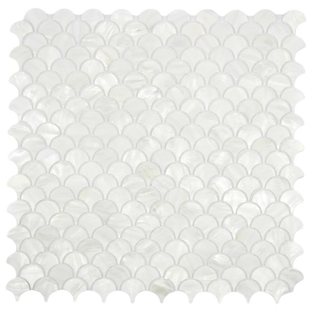 White Fish Scale Mother Of Pearl Shell Tile Backsplashes