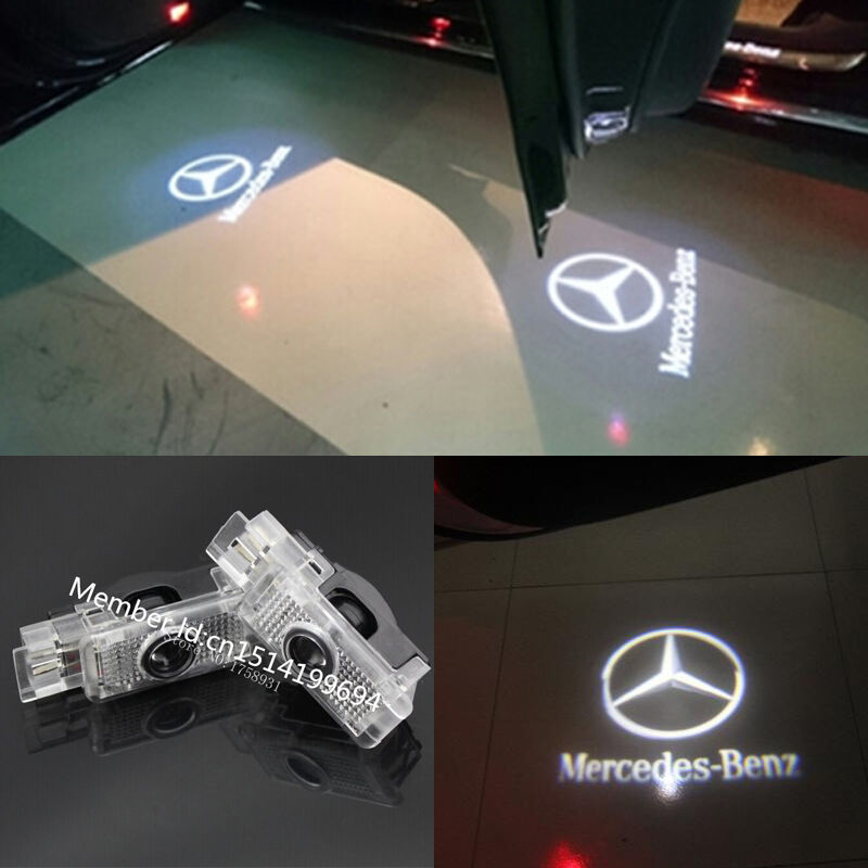 2x benz logo led laser projector door light for mercedes c for Led verlichting interieur