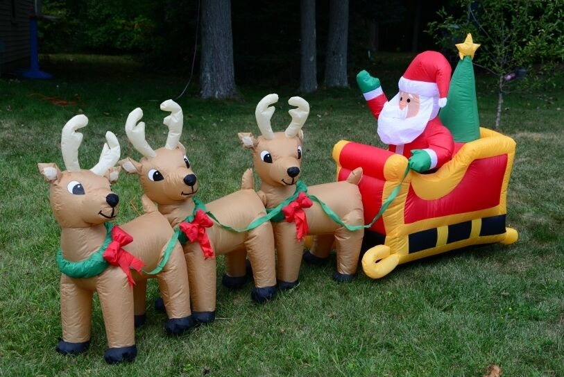 Santa with reindeer inflatable decoration outdoor for Christmas reindeer decorations outdoor