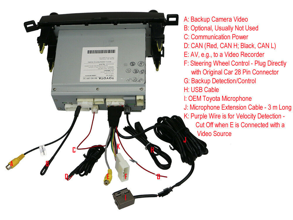 s l1000 toyota rav4 wiring harness usb aux av bluetooth microphone camera Toyota Stereo Wiring Diagram at bakdesigns.co