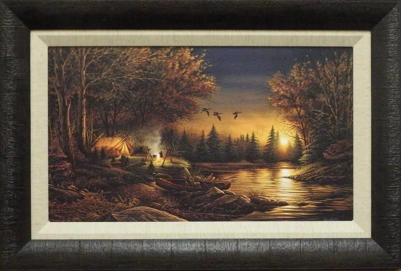 Terry Redlin Quot Evening Solitude Quot Camping Print Framed 23 Quot X