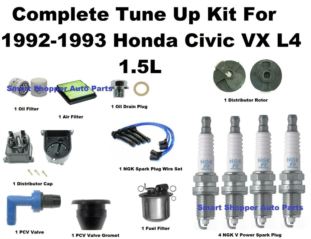 Tune Up Kit 92-93 Honda Civic VX Spark Plug Wire Set, Oil Air Fuel Filter Cap Ro | eBay