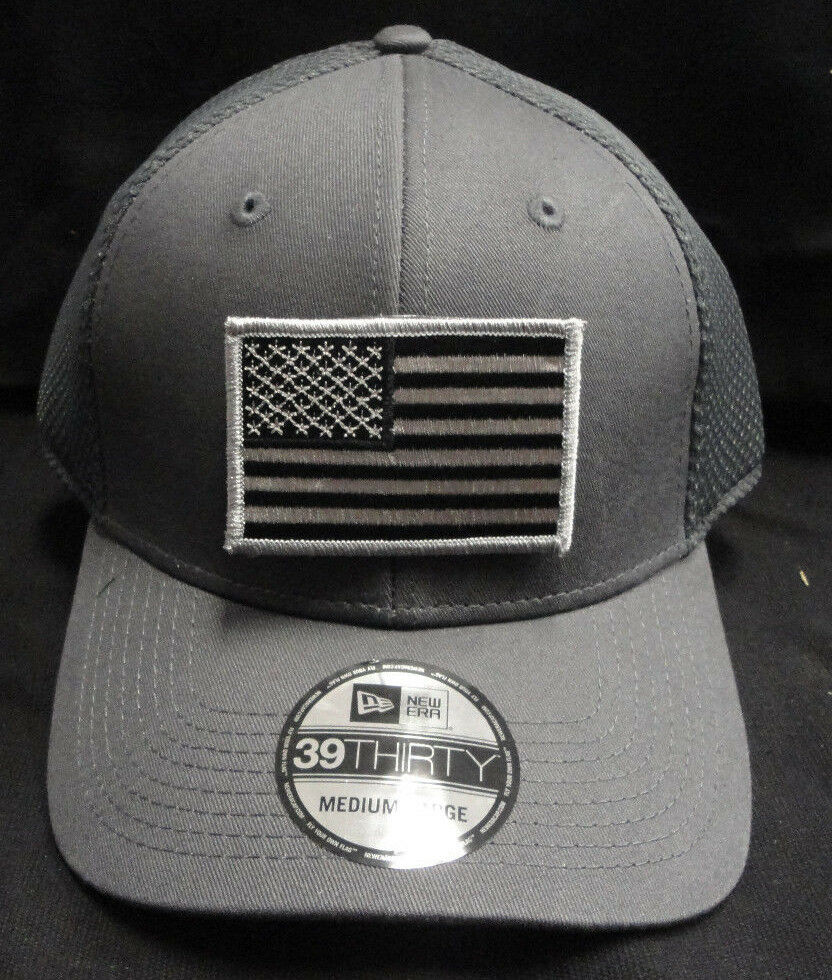 Details about New Era NE1020 Charcoal Mesh FlexFit Hat With Subdued Grey American  Flag Patch 5b41e250f