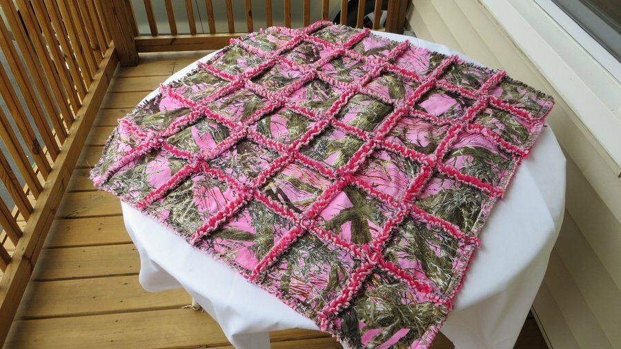 Pink True Timber Camo Baby Blanket Rag Quilt Camouflage