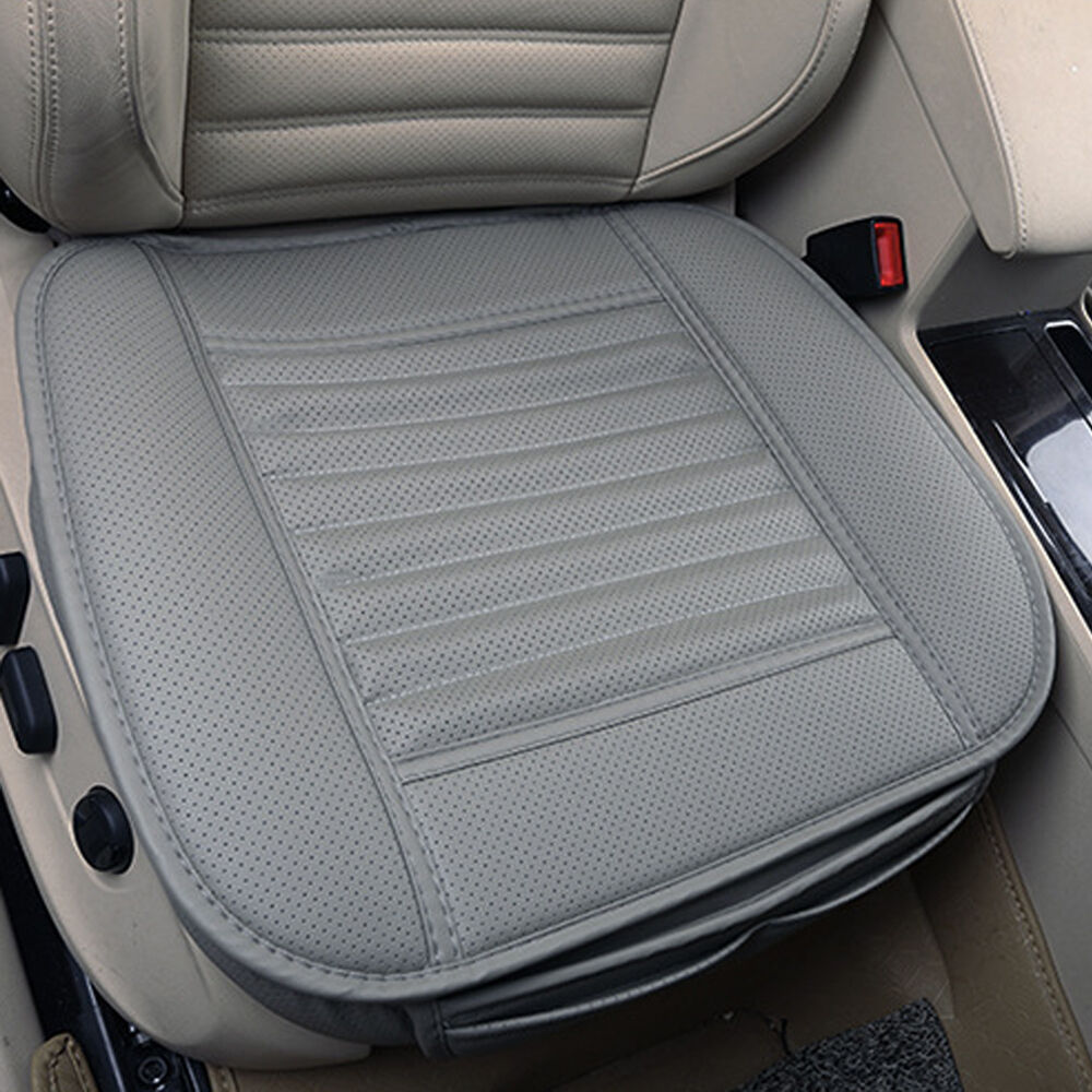 pu gray leather bamboo charcoal full surround car seat cover protect cushion mat ebay. Black Bedroom Furniture Sets. Home Design Ideas