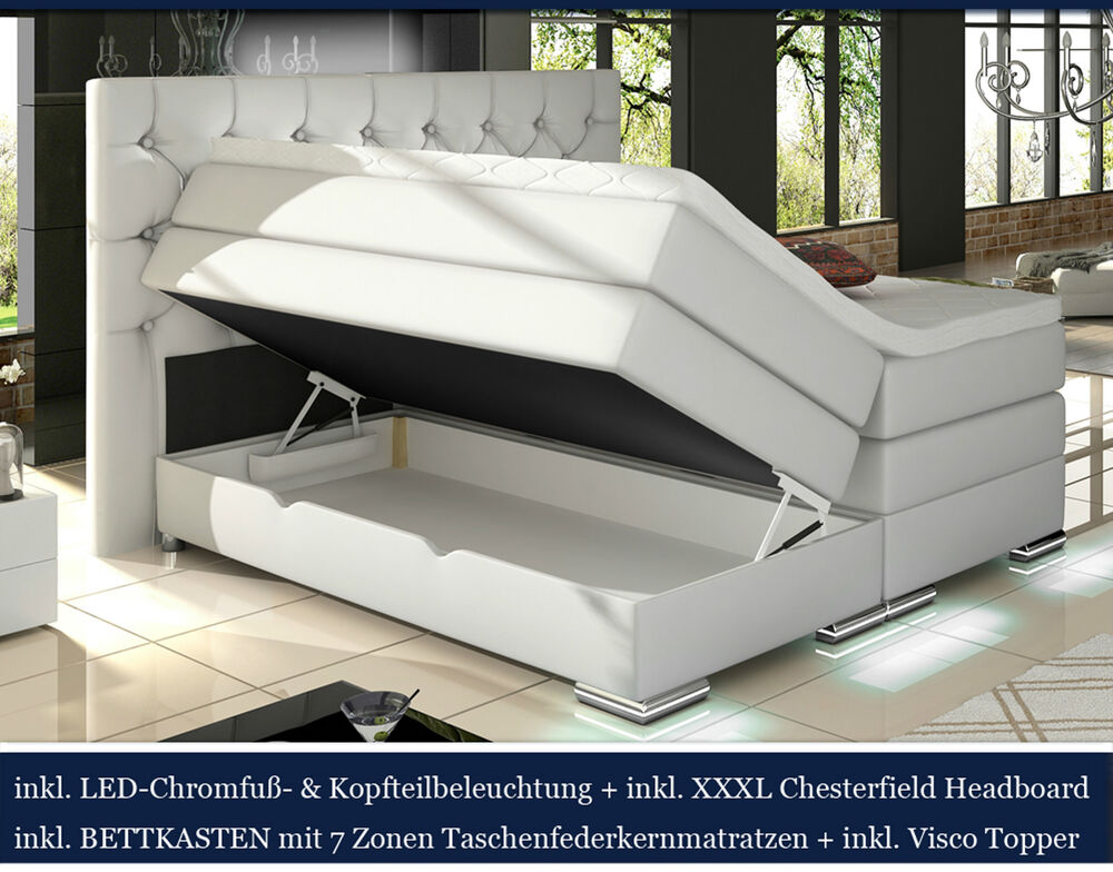 xxxl boxspringbett bettkasten led weiss 180x200 200x200 chesterfield ebay. Black Bedroom Furniture Sets. Home Design Ideas