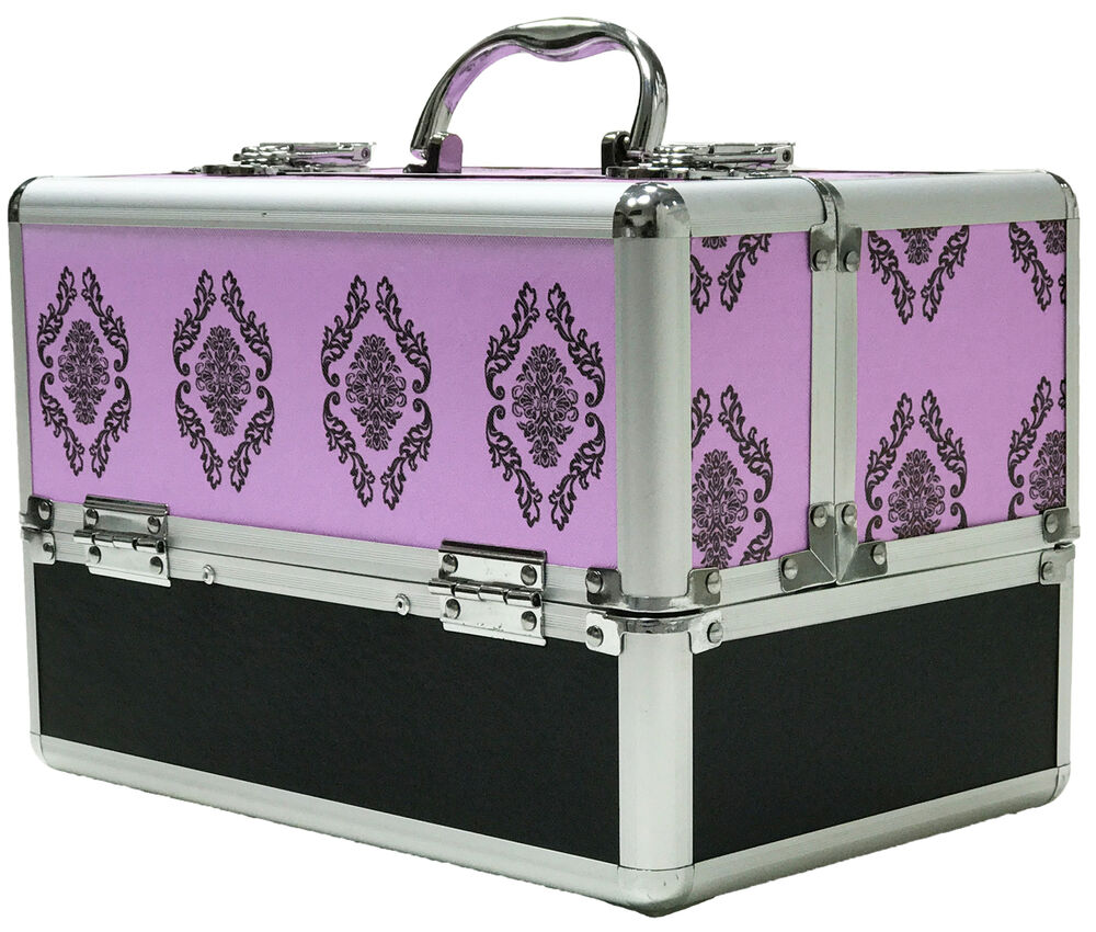 large purple aluminium beauty damask cosmetic box nail. Black Bedroom Furniture Sets. Home Design Ideas