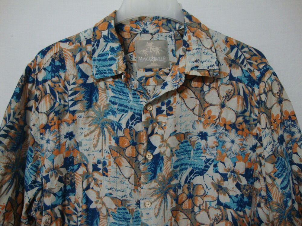 476ae488 Details about Margaritaville Men's XL Hawaiian Shirt Silk Linen Blend Blue  Orange Floral Camp