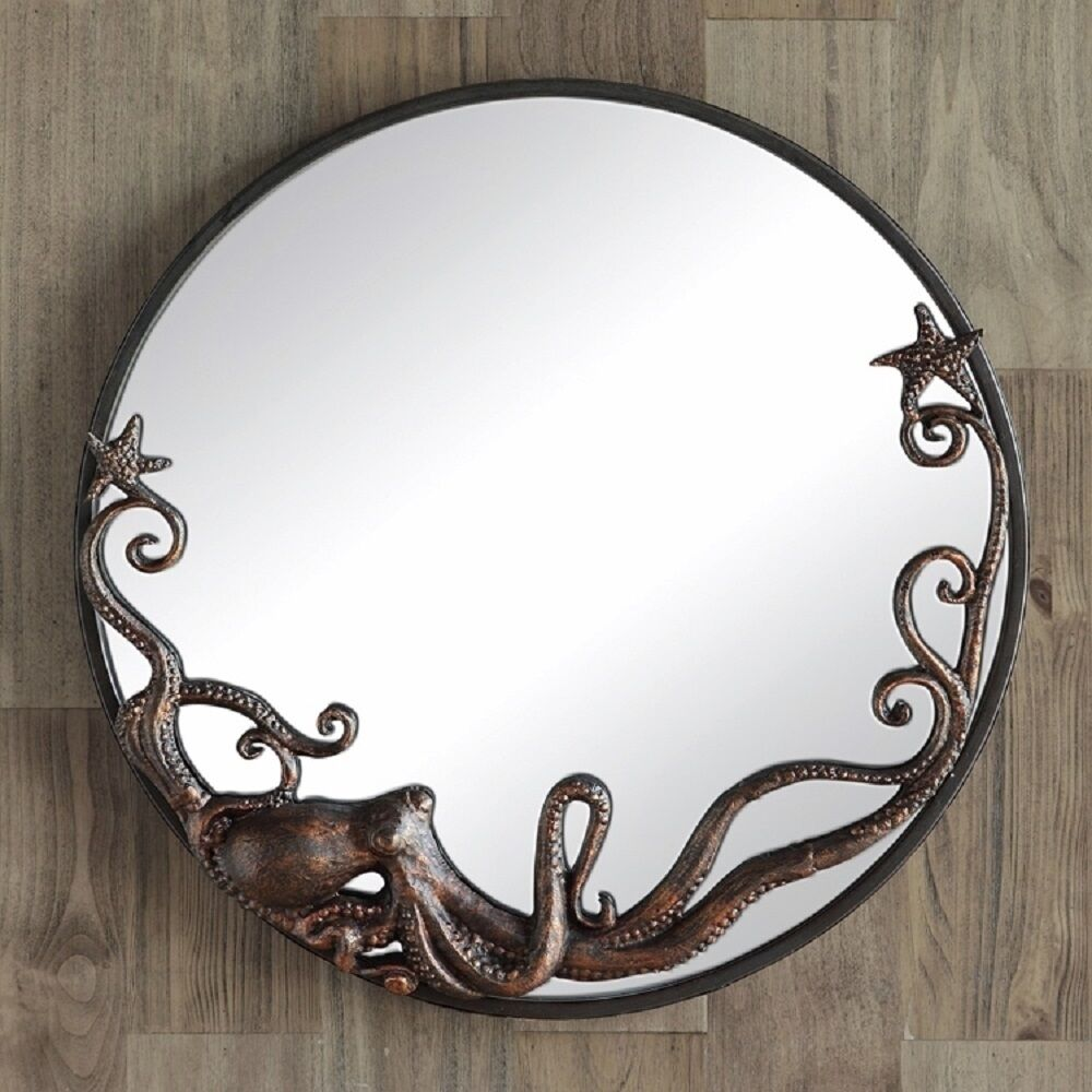 octopus round wall mirror coastal nautical beach ocean decor cast iron 22 ebay. Black Bedroom Furniture Sets. Home Design Ideas