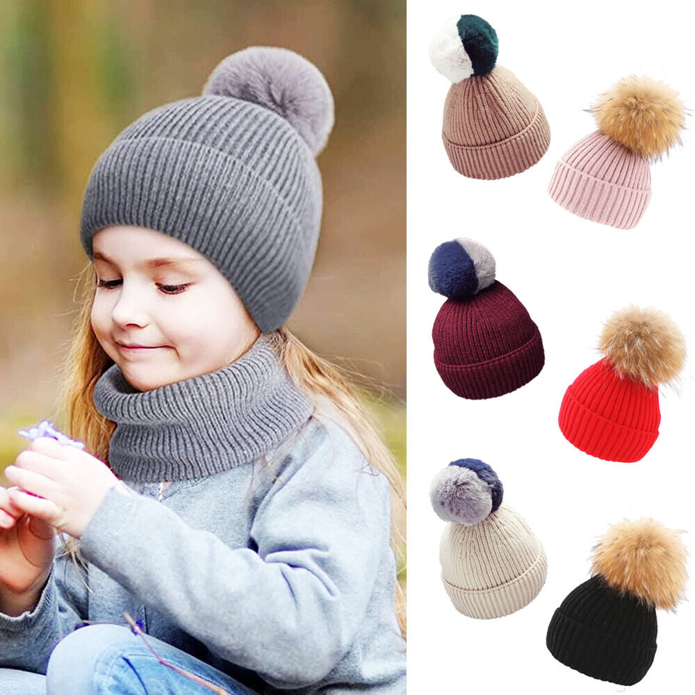 9042cebf4 Childrens Boys Girls Ribbed Knitted Beanie Bobble Hat Detach Large ...