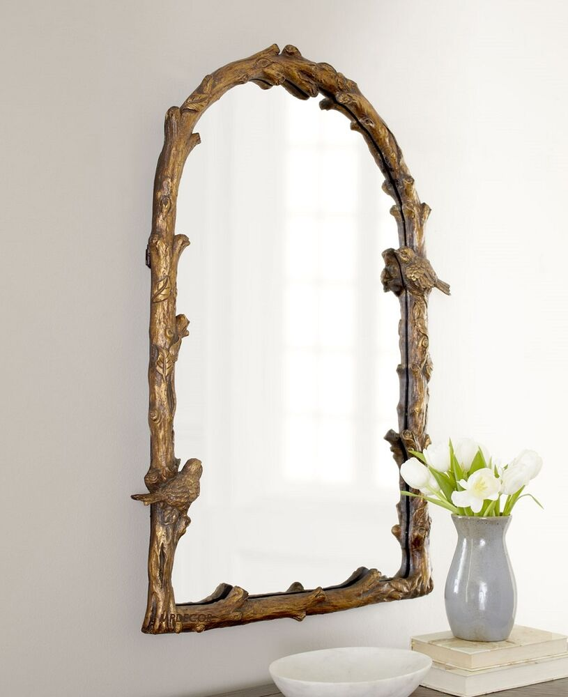 Bird on branch arched wall mirror antique gold bath vanity for Mirror o mirror