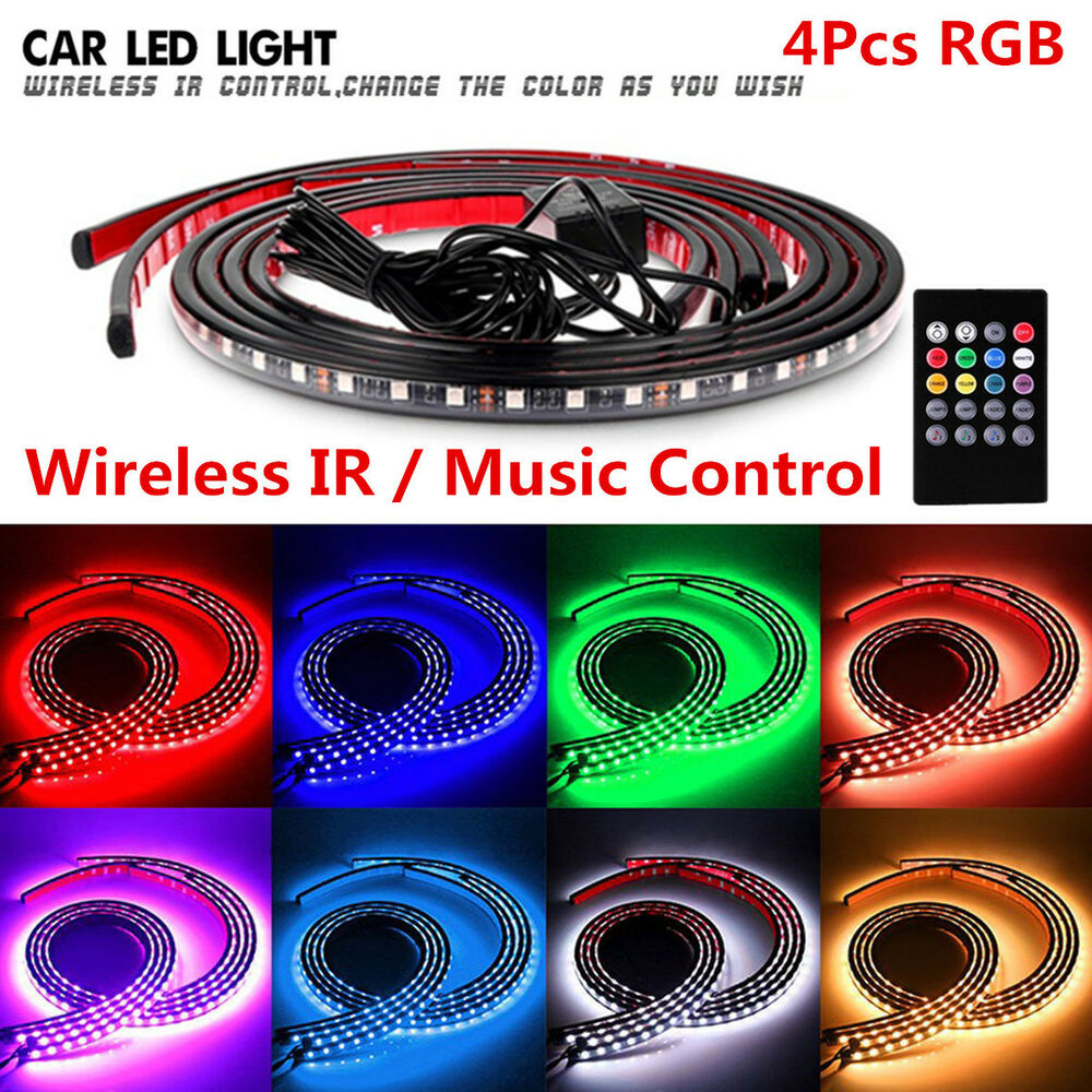 Ebay Auto Body Parts >> 8 Colors RGB LED Strips Under Car Underglow Underbody Music Control Neon Lights 4683812334363 | eBay