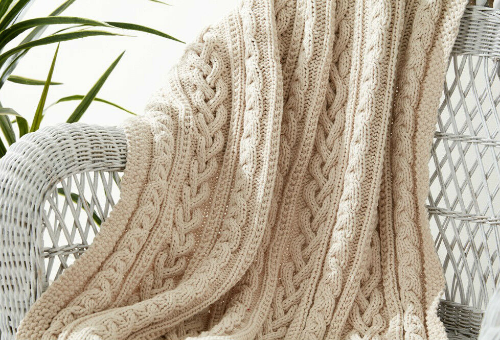 KNITTING PATTERN - THREE BRAIDED CABLE KNIT AFGHAN/BLANKET/THROW APPROX 43&qu...
