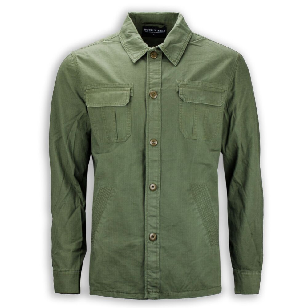 new men casual button up shirt long sleeve green army 2