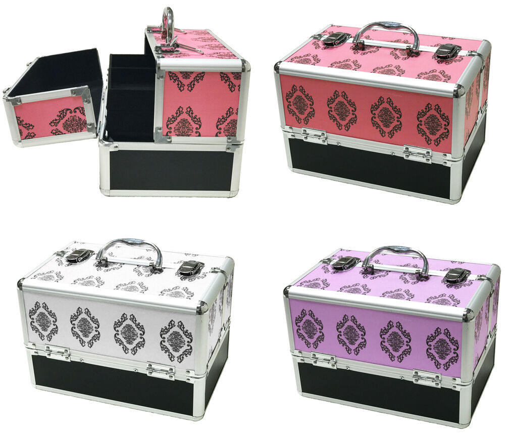 large beauty cosmetic box damask make up vanity case nail tech hair salon bag ebay. Black Bedroom Furniture Sets. Home Design Ideas