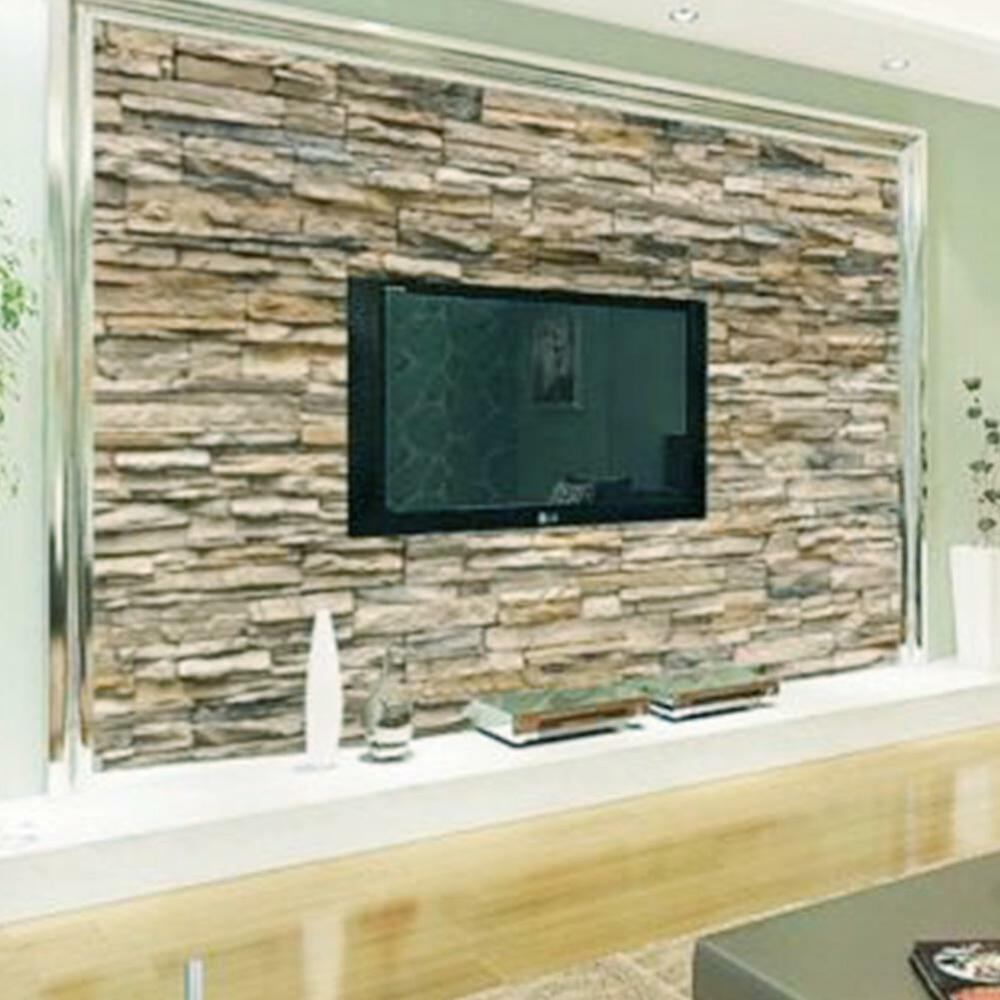 3d wallpaper bedroom living mural roll modern faux brick stone wall background ebay. Black Bedroom Furniture Sets. Home Design Ideas