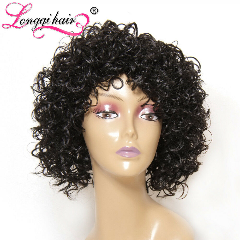 Natural Look Synthetic Hair Full Wig Curly Black Afro Wig