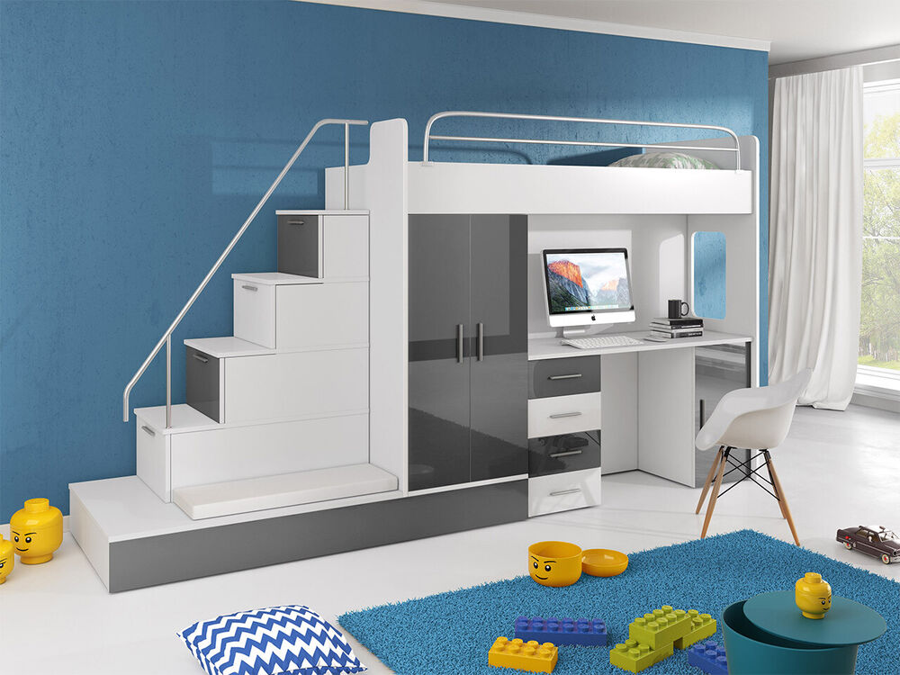 hochbett mit schreibtisch kinderbett kleiderschrank schrank modern paradies 5 ebay. Black Bedroom Furniture Sets. Home Design Ideas