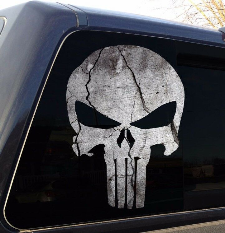 Punisher Skull Cracked Rock Stone Military Decal Sticker