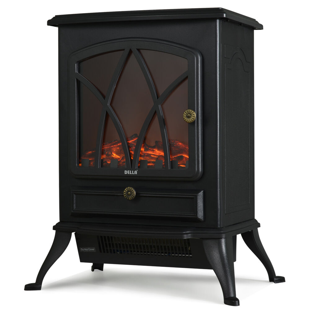 1500w Electric Fireplace Heater Stove Tempered Glass Adjustable Flame Portable Ebay