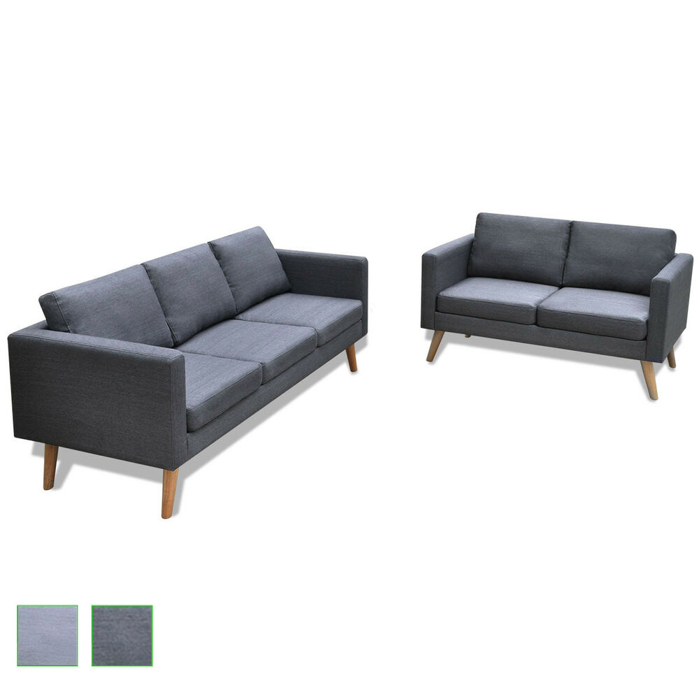 2 Combinations Dark Light Grey Modern Fabric Sofa Couch