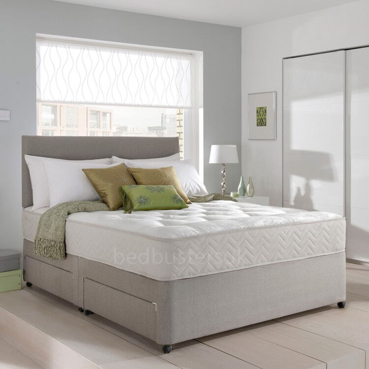 Memory foam divan bed set with mattress and headboard 3ft 4ft6 double 5ft king ebay Divan double bed with mattress
