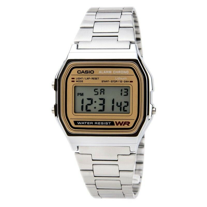 casio a158wea 9 mens stainless steel retro style digital watch micro light alarm ebay. Black Bedroom Furniture Sets. Home Design Ideas