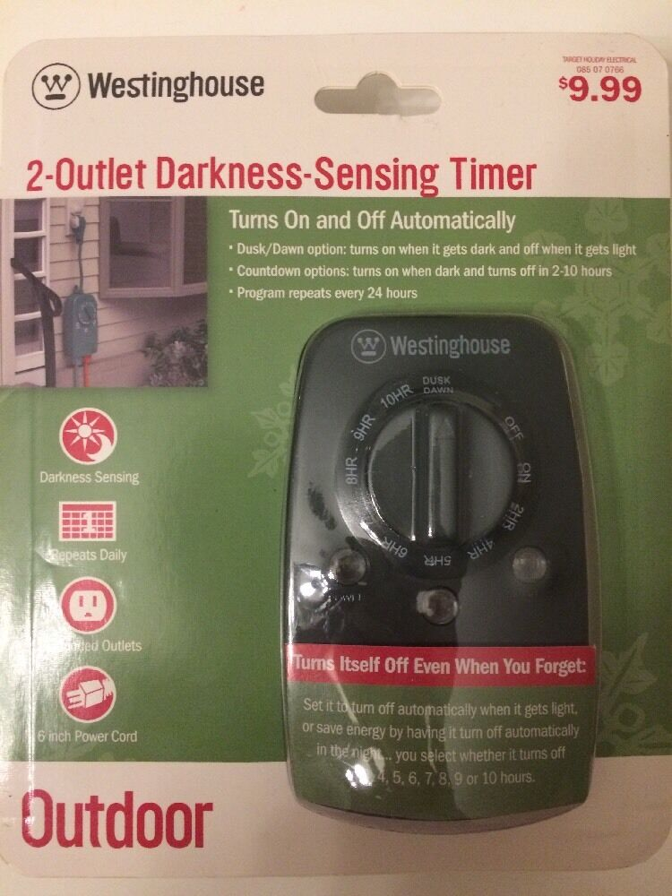 Westinghouse Time Capsules: (2 Pack) Target Westinghouse 2 Outlet Darkness Sensing