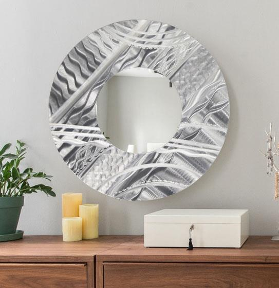 Large round silver modern metal wall mirror accent art for Modern mirrored wall art