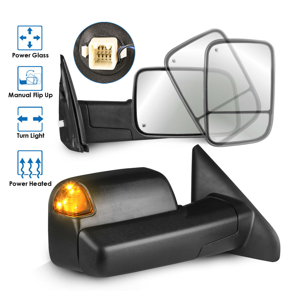 2 Tow Mirrors Power Heated Led Signal for 02-08 Dodge Ram ...