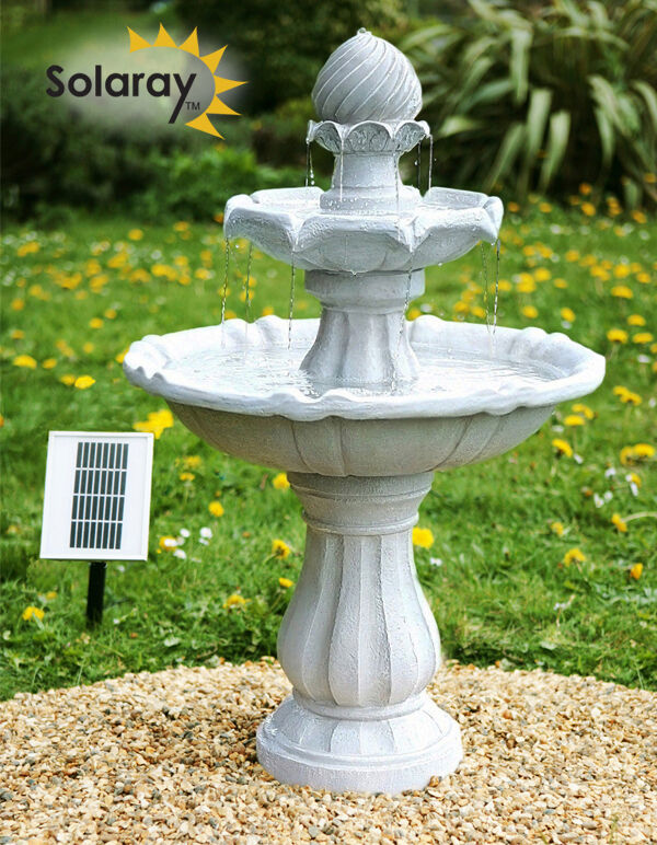 fontaine solaire imp riale classique bain oiseaux ext rieur cascade jardin patio ebay. Black Bedroom Furniture Sets. Home Design Ideas